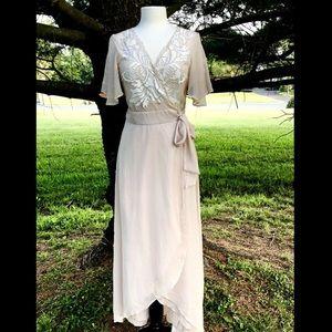 Cleobella Wrap Dress blush nude Embroidered  S